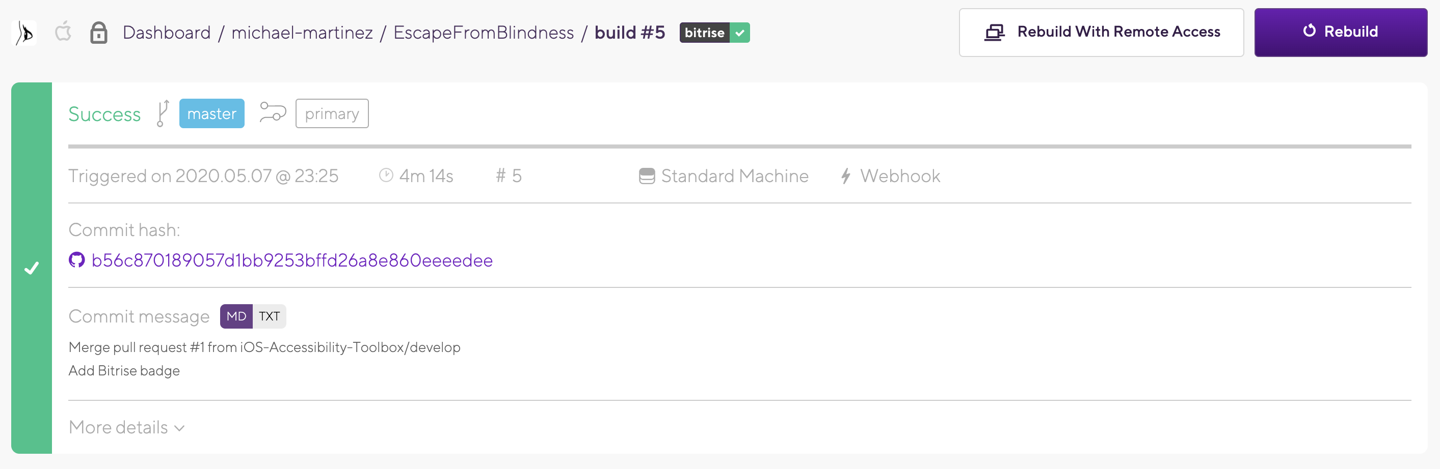 Bitrise continuous intagration tool build section